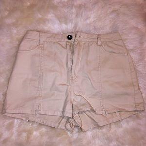 Francine Split-Hem Cream Shorts